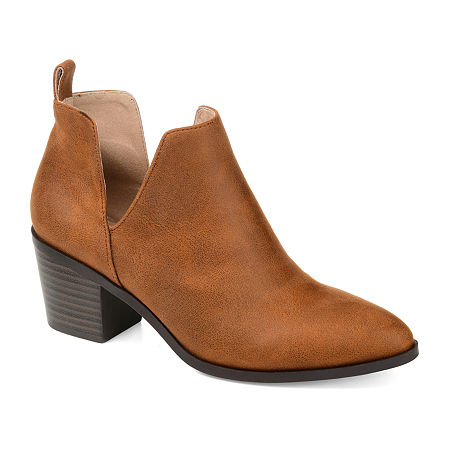 Journee Collection Womens Lola Stacked Heel Booties, 10 Medium, Brown