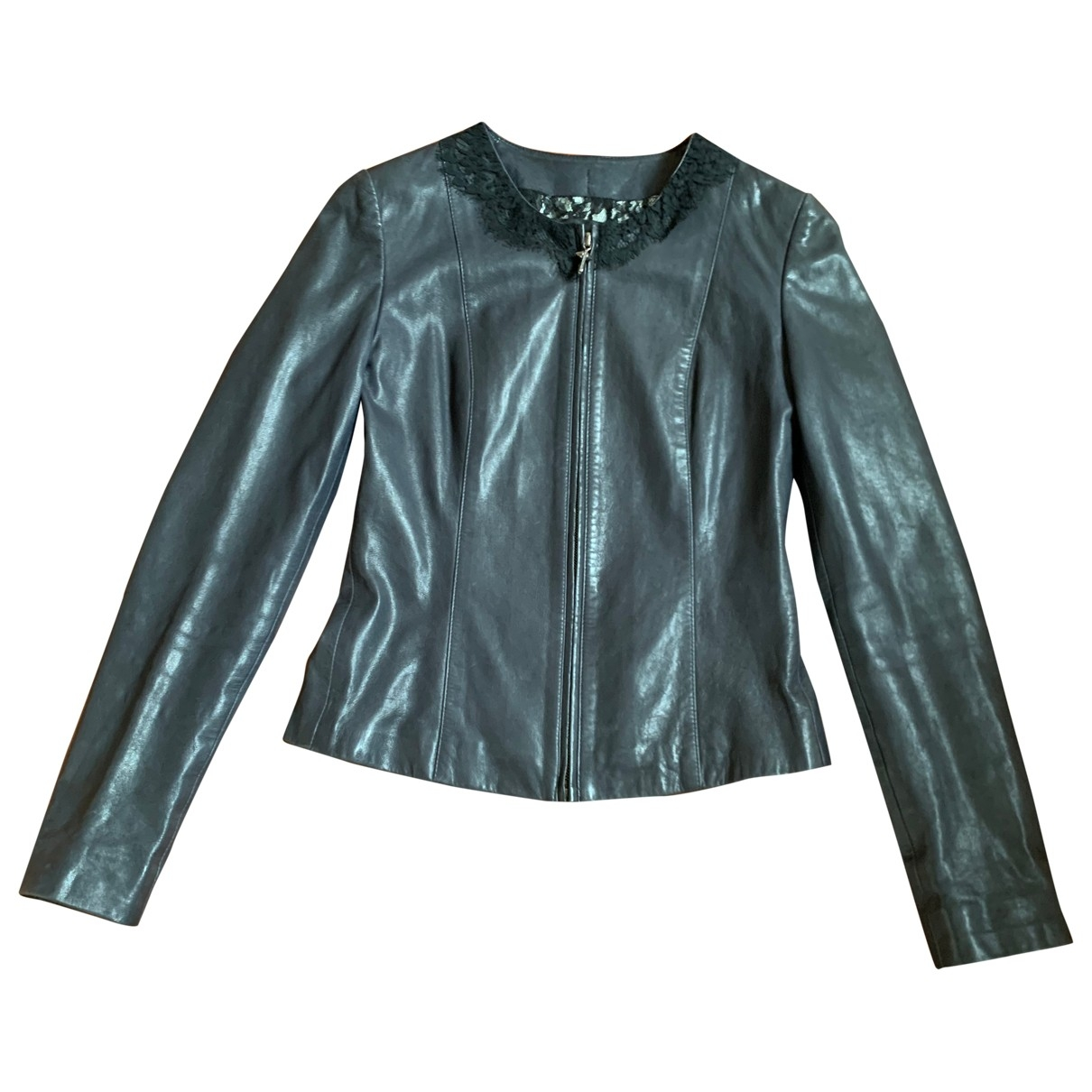 Philipp Plein \N Blue Leather jacket for Women 36 FR