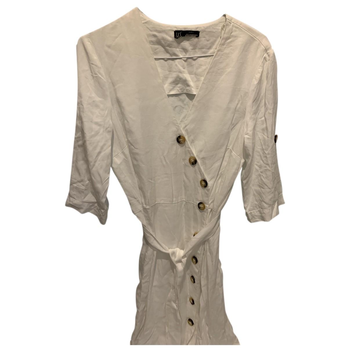 Zara - Robe   pour femme en coton - elasthane - blanc