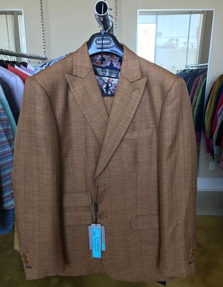 Mens Linen Summer Fabric Khaki 2 Buttons Peak lapel Suit Ticket Pocket