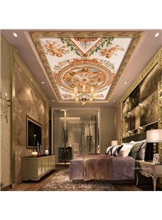3D Naked Babies Floral Pattern PVC Waterproof Sturdy Eco-friendly Self-Adhesive Ceiling Murals