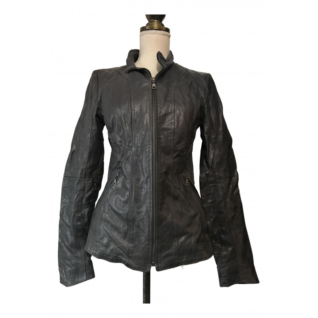 - Veste   pour femme en cuir - anthracite