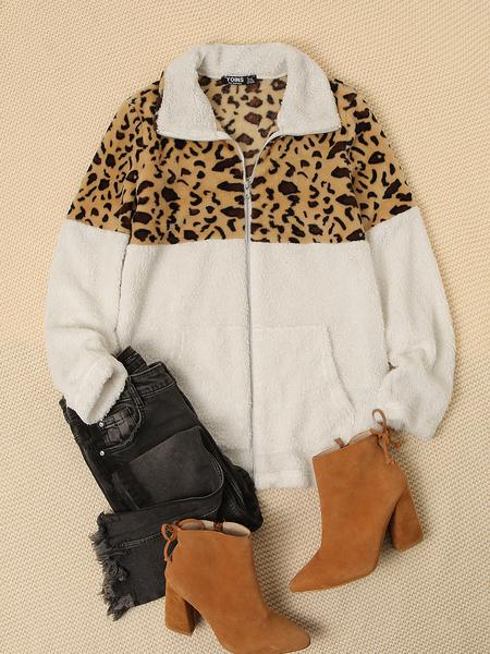 YOINS White Patch Leopard Plush Coat