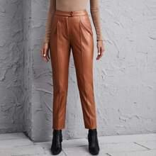 Pantalones PU con costura delantera