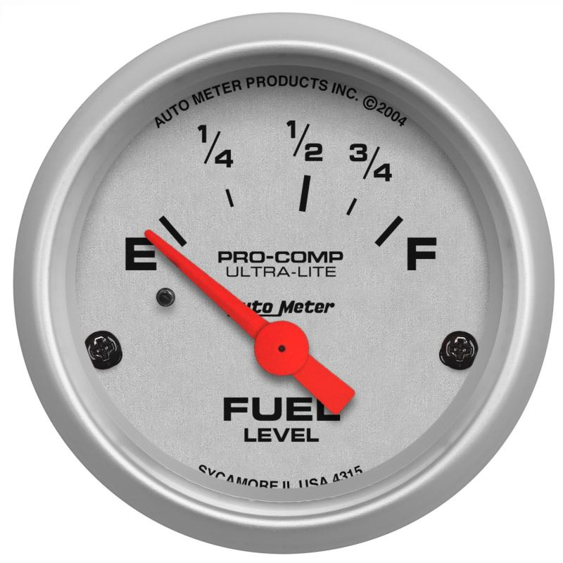 AutoMeter GAUGE; FUEL LEVEL; 2 1/16in.; 73OE TO 10OF; ELEC; ULTRA-LITE