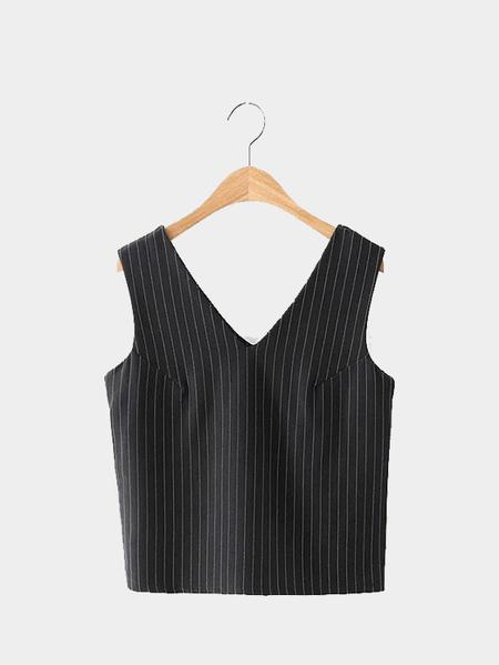 Yoins V-neck Stripe Crop Top in Black