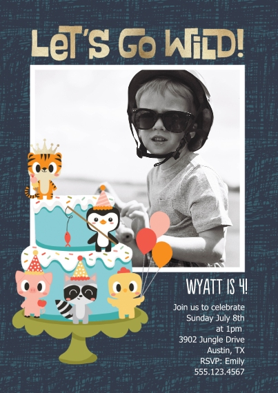 Kids Birthday Party 5x7 Cards, Standard Cardstock 85lb, Card & Stationery -Tiger Prince