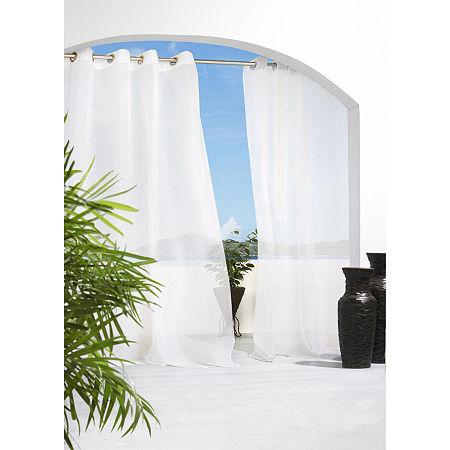 Cote D' Azure Indoor/Outdoor Fade Resistant Grommet-Top Single Outdoor Curtain Panel, One Size , Black