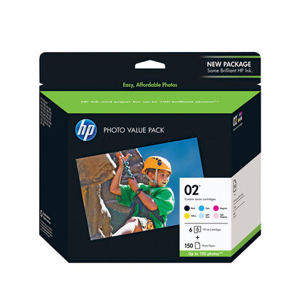 HP 02 Q7964AC Original Ink Cartridge Combo BK/C/M/Y/LC/LM + Photo Paper 150 Sheets 4