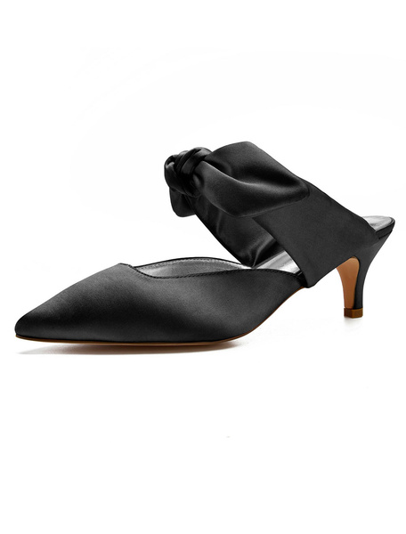 Milanoo Black Mules Shoes Satin Pointed Toe Bow Kitten Heel Mules For Women
