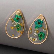 Flower Water Drop Stud Earrings