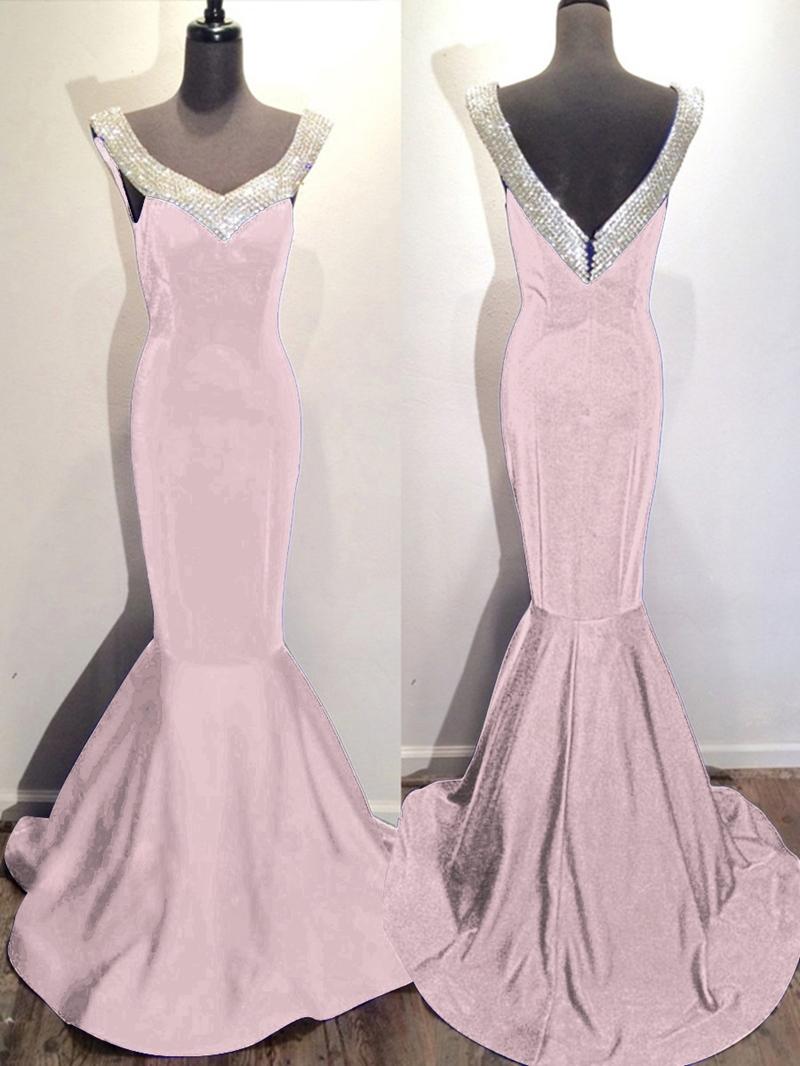 Ericdress Mermaid V-Neck Beaded Court Train Evening Dress