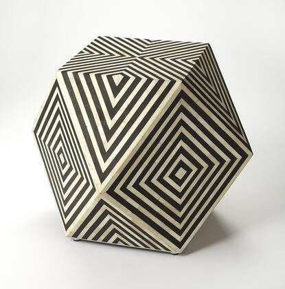 Zanzibar Collection 5233318 Bunching Table with Modern Style  Square Shape  Medium Density Fiberboard (MDF) and Bone Inlays in Black Bone Inlay