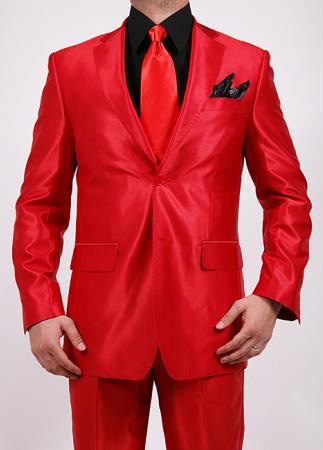Mens Shiny Red 2Button 2Piece Slim Fit Suit