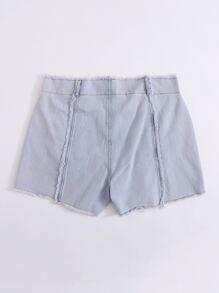 Plus Raw Hem Button Fly Denim Shorts