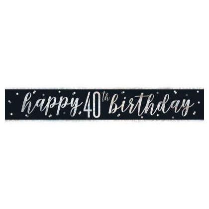 9ft Birthday Glitz Black & Silver Prismatic Foil Banner, 1ct - Age 40