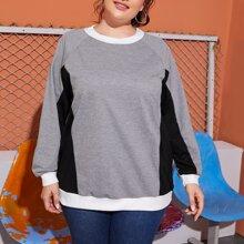 Sweatshirt mit Kontrast Einsatz und Raglanaermeln
