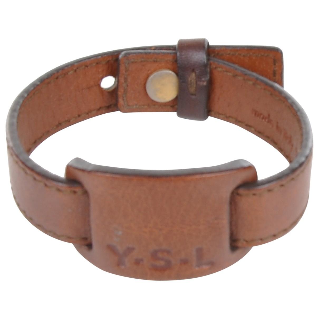 Saint Laurent - Bracelet   pour femme en cuir - marron