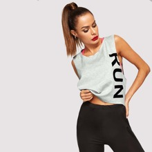 Letter Graphic Shell Top Without Cami