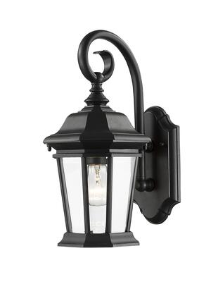 Melbourne 541M-BK 10.25 1 Light Outdoor Wall Light Regional  Tuscanhave Aluminum Frame with Black finish in Clear