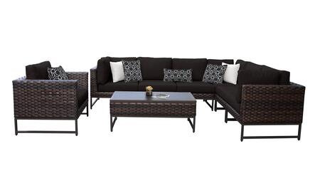 Barcelona BARCELONA-08d-BRN-BLACK 8-Piece Patio Set 08d with 3 Corner Chairs  1 Club Chair  3 Armless Chairs and 1 Coffee Table - Beige and Black