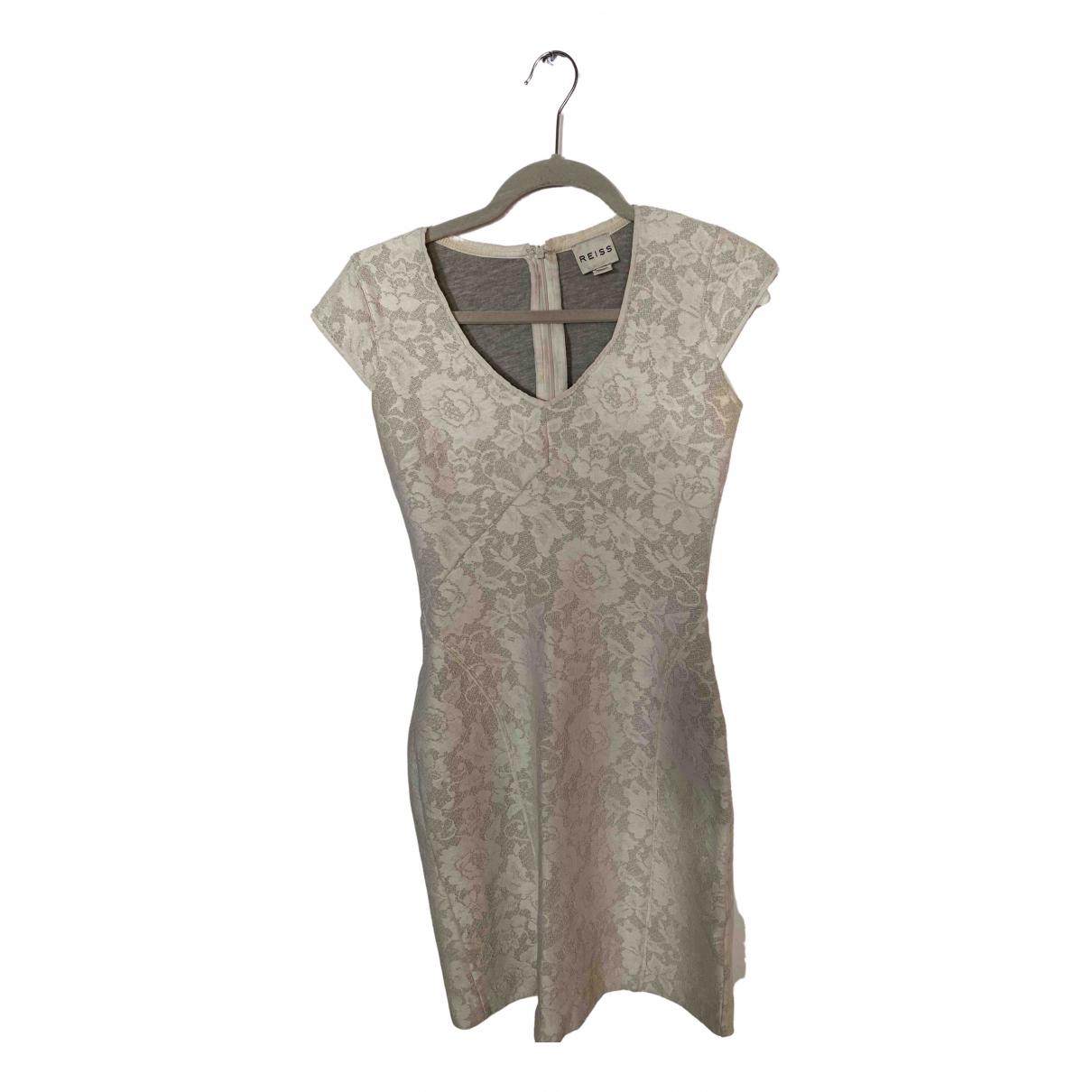 Reiss - Robe   pour femme en coton - elasthane - blanc