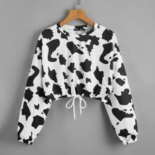 Cow Print Drawstring Hem Crop Sweatshirt