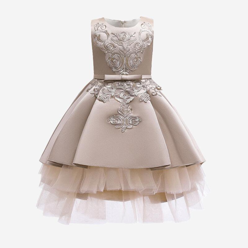 Girl's Embroidery Flower Sleeveless Princess Wedding Dress For 3-11Y
