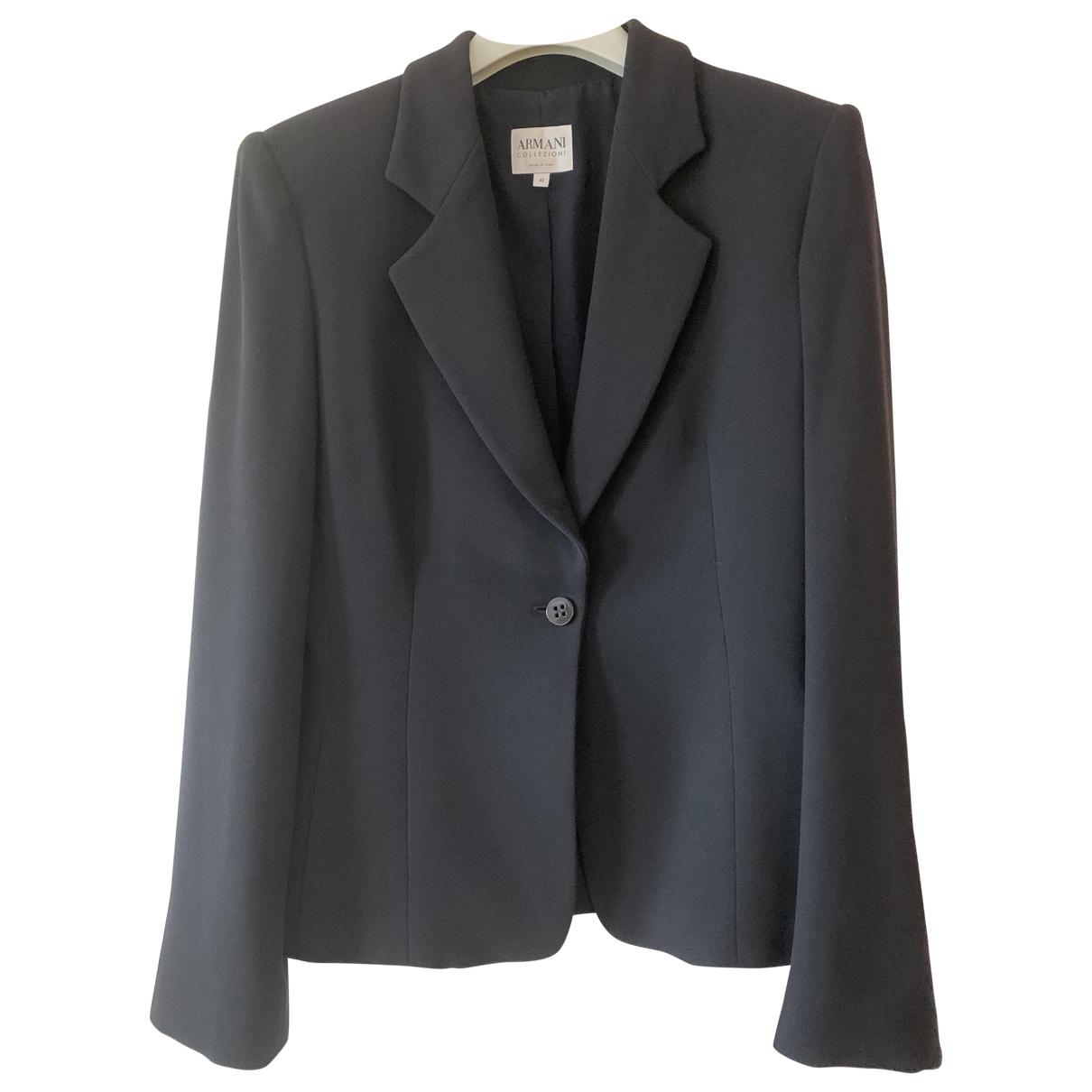 Armani Collezioni N Black Wool jacket for Women 40 IT