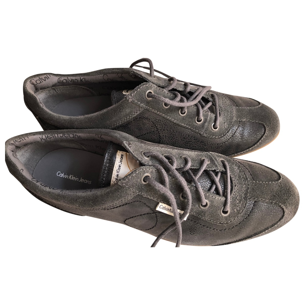 Calvin Klein \N Grey Leather Trainers for Women 41 EU