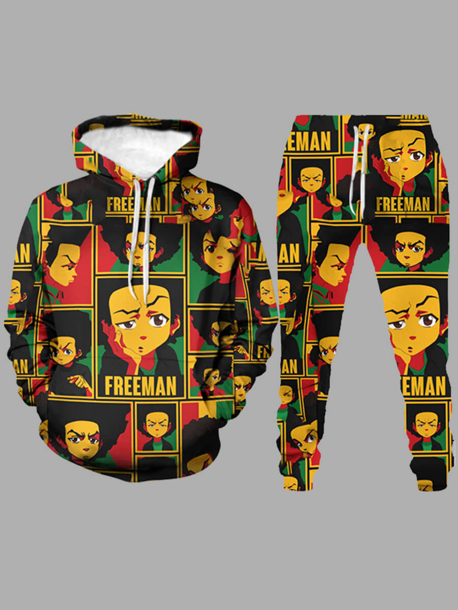 LW Lovely Stylish Hooded Collar Print Multicolor Men Two-piece Pants Set