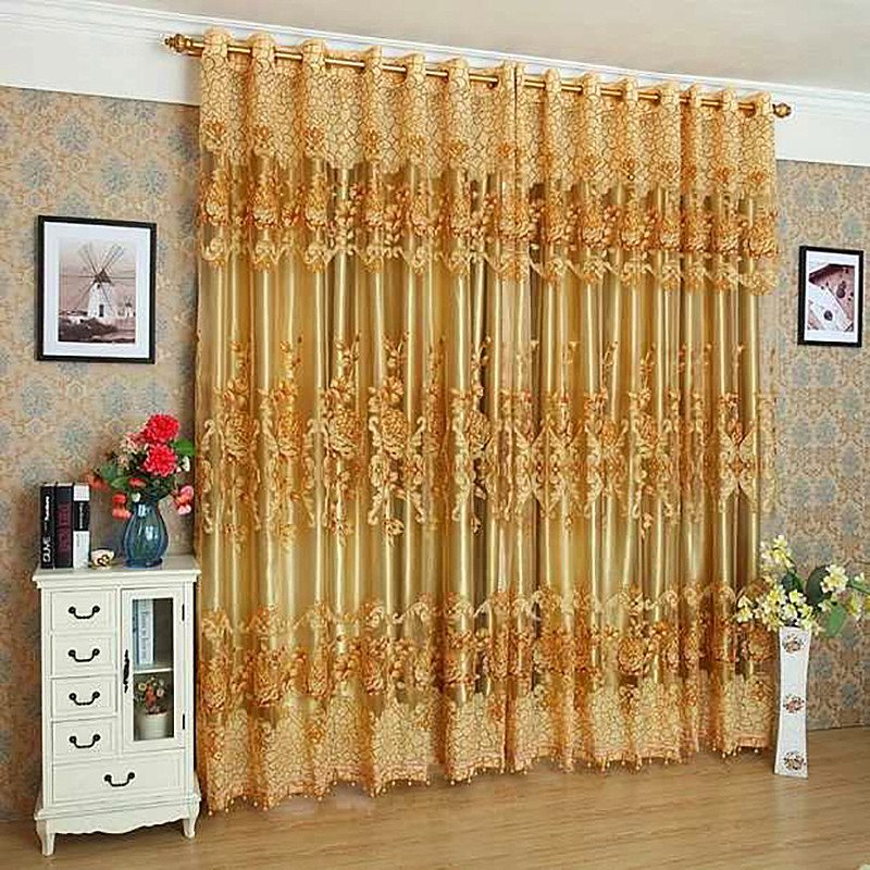 Luxury Golden Custom Black Out Curtains 2 Panel Set 84 Inches Wide and 84 Inches Long Thick Silky Soft Touch Polyester Never Fading Cracking Peeling o