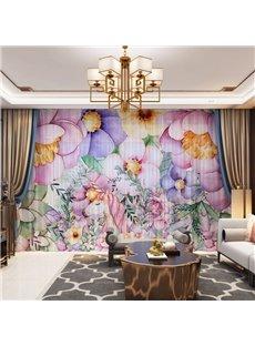 3D Pink and Purple Flowers Printed 2 Panels Decorative Custom Sheer