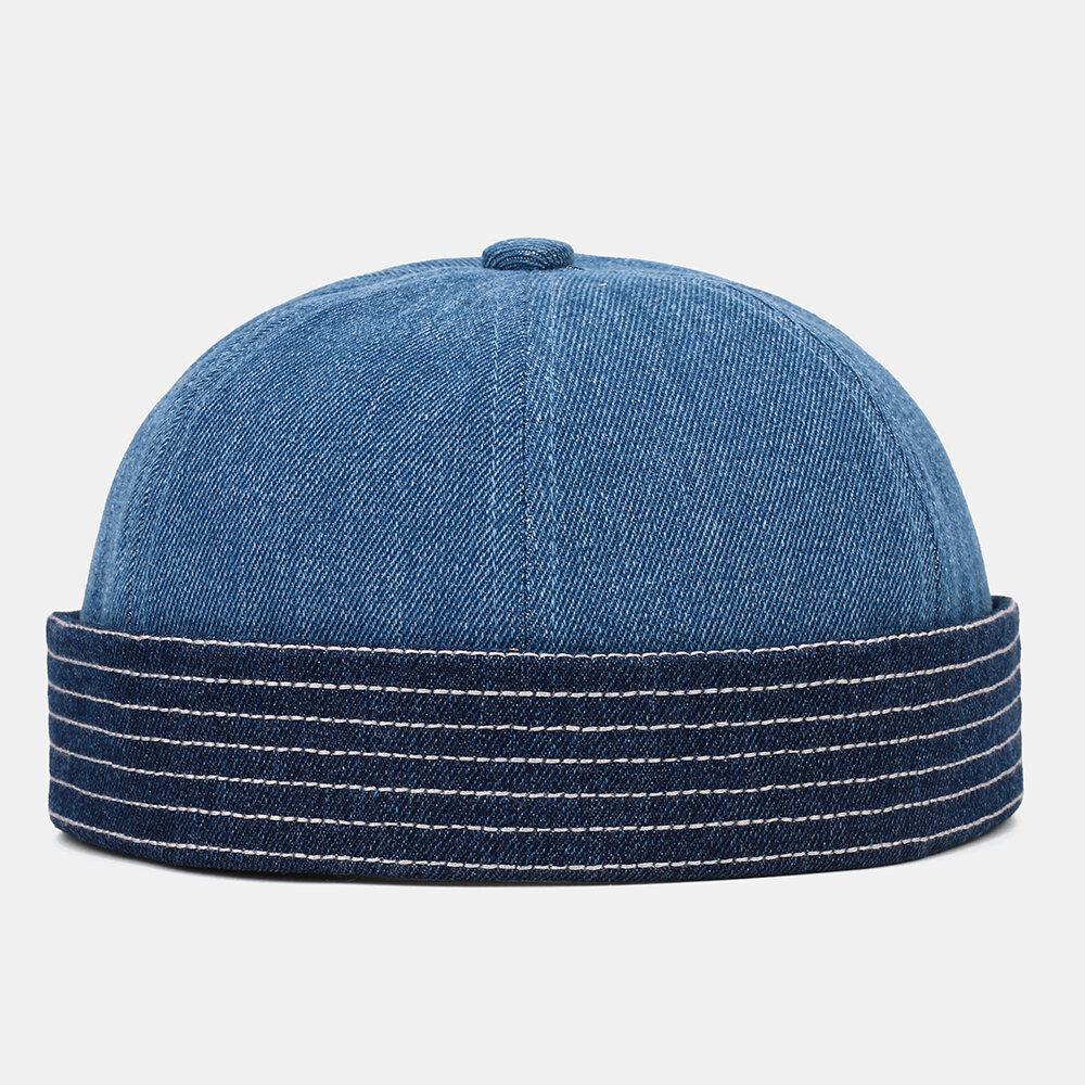 Men Solid Color Outdoor Leisure Hat Beanie Landlord Cap Skull Cap