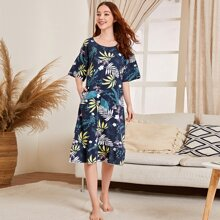 Tropical Print Ruffle Hem Night Dress