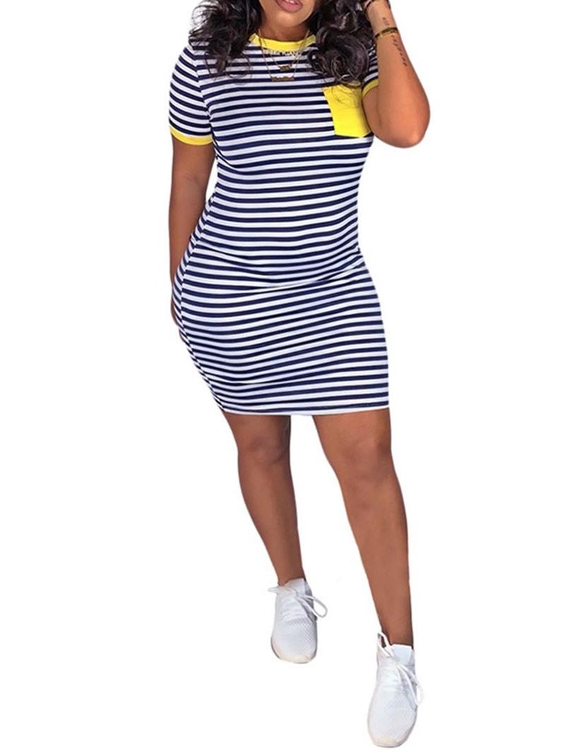 Ericdress Striped Above Knee Round Neck Short Sleeve Regular Casual Dress
