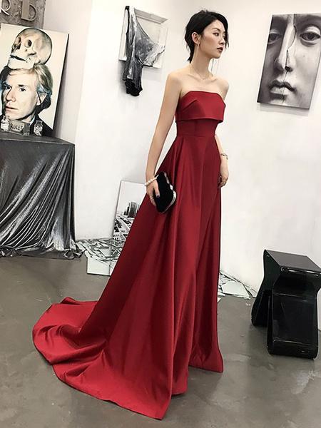 Milanoo Evening Dress A-Line Strapless Court Train Sleeveless Zipper Pleated Satin Fabric Formal Party Dresses