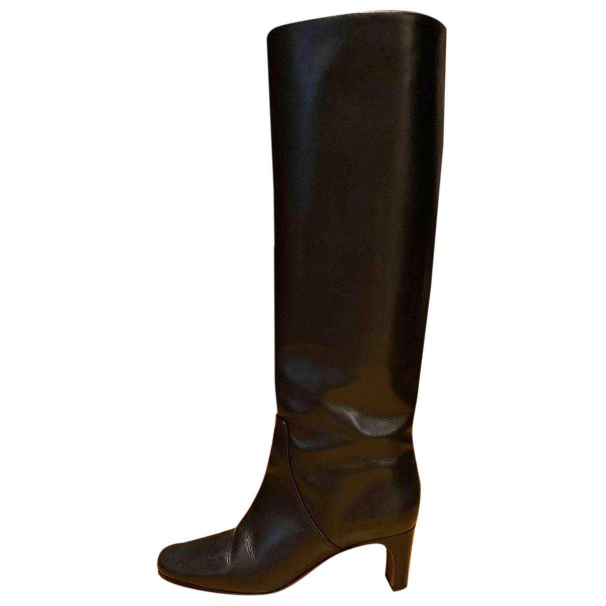 Maje - Bottes   pour femme en cuir - noir