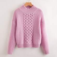 Einfarbiger Pullover mit Stehkragen und sehr tief angesetzter Schulterpartie