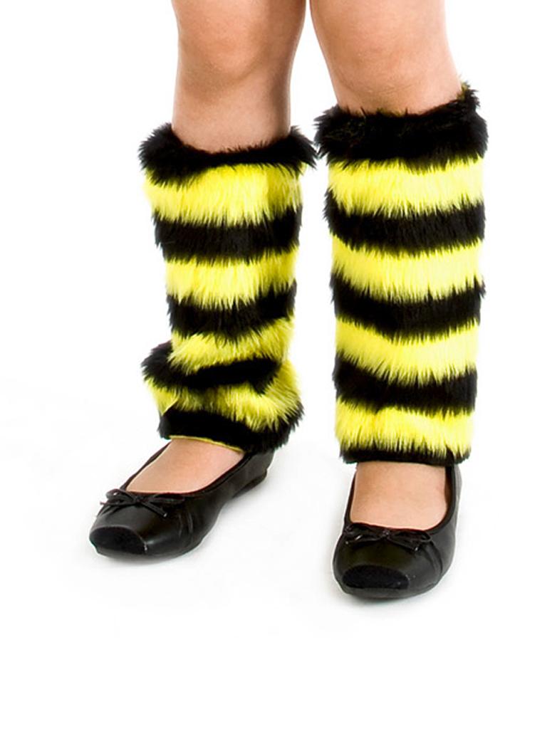 Kostuemzubehor Beinstulpen Biene Pluesch Kinder Farbe: schwarz/gelb