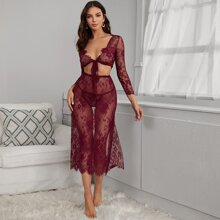 3pack Floral Lace Long Sleeve Lingerie Set & Skirt