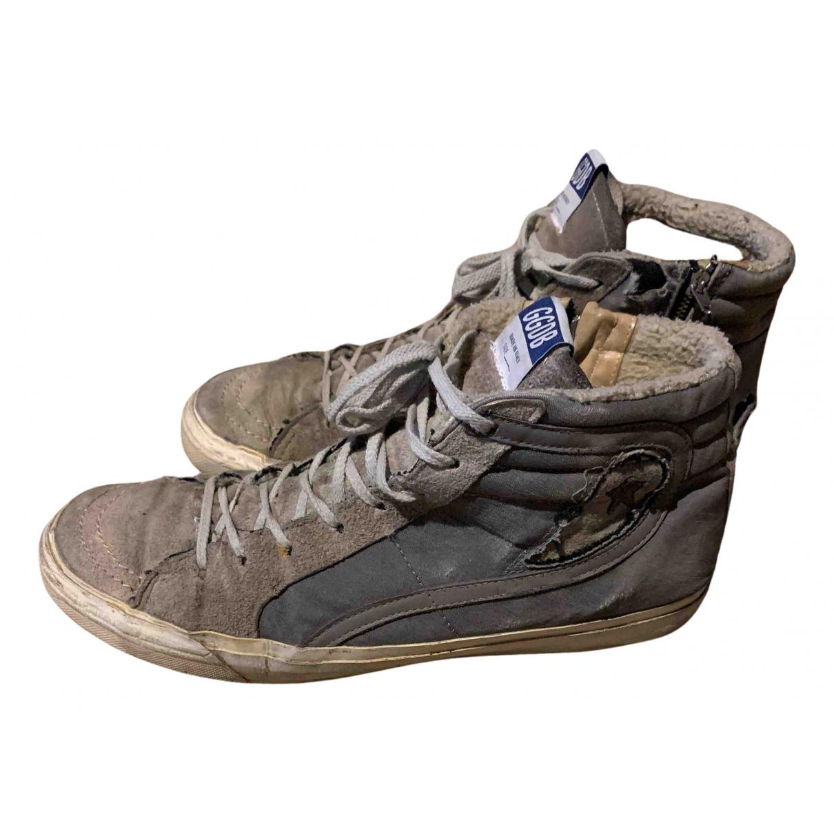 Golden Goose Slide Sneakers in  Beige Veloursleder
