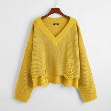 Pullover mit Stufensaum und Riss