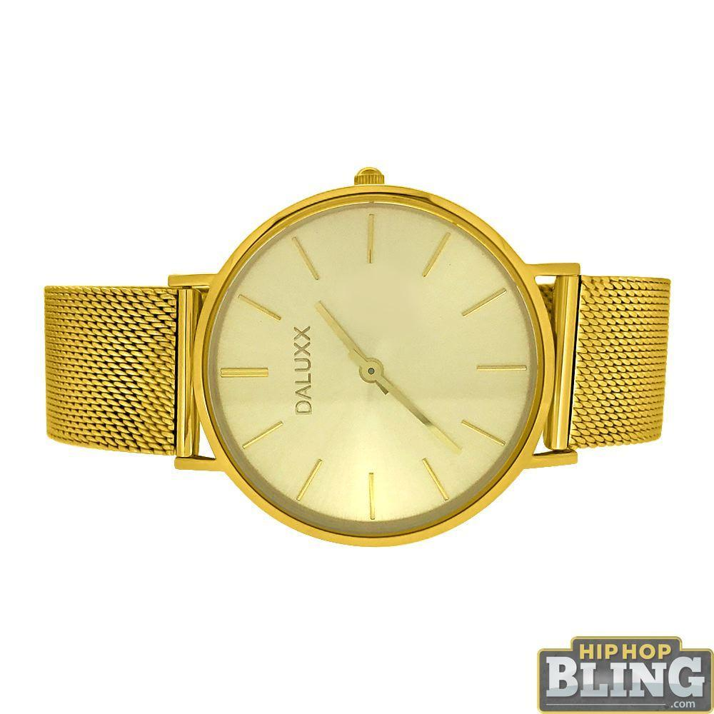 Slim Case Watch All Gold Steel Mesh Band