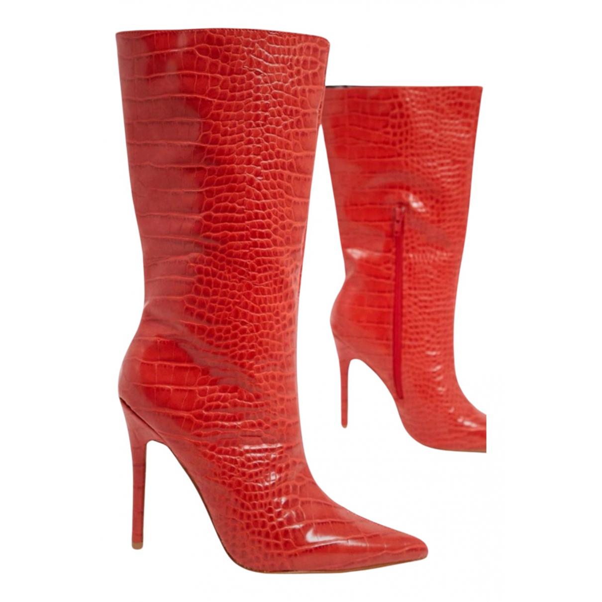 - Bottes   pour femme en cuir verni - rouge