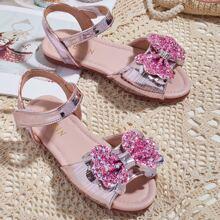 Toddler Girls Glitter Bow Decor Sandals