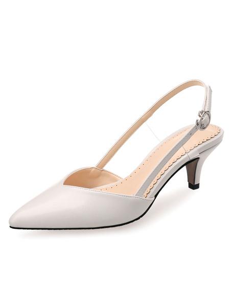 Milanoo Kitten Heel Pumps Black Pointed Toe Slingbacks Slip On Pumps Women Dress Shoes