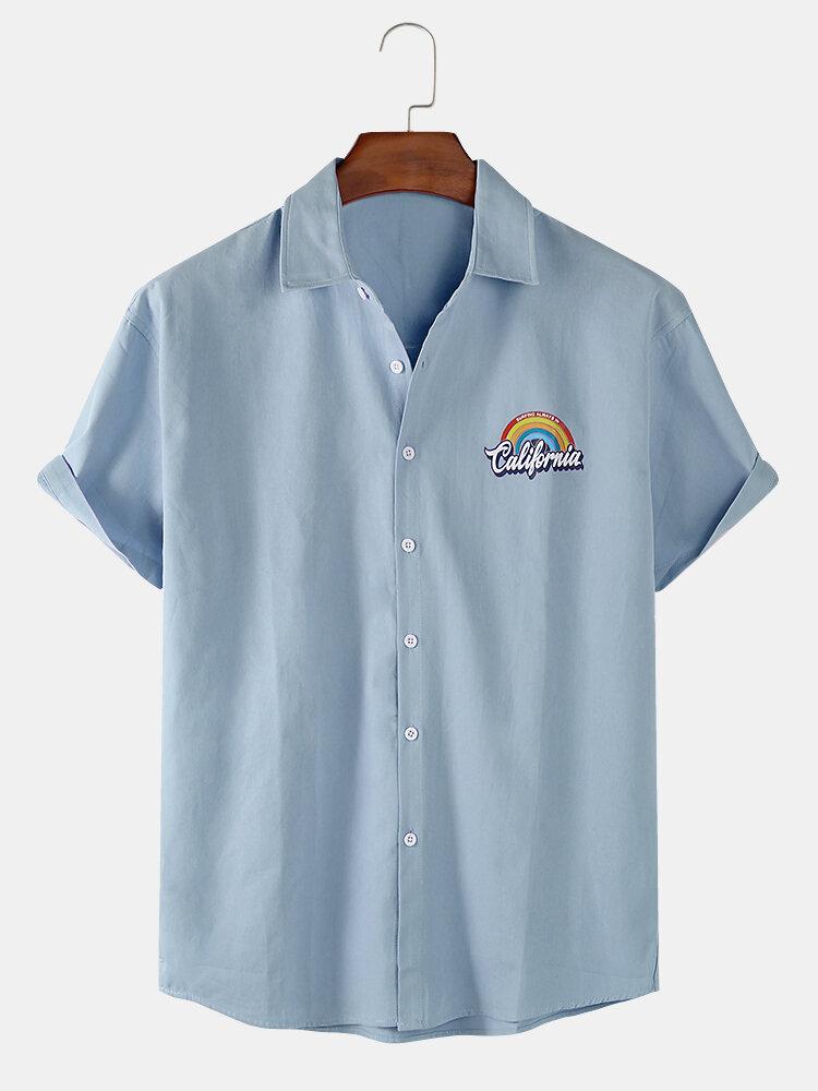 Mens Solid Color Rainbow Print Casual Light Short Sleeve Shirts