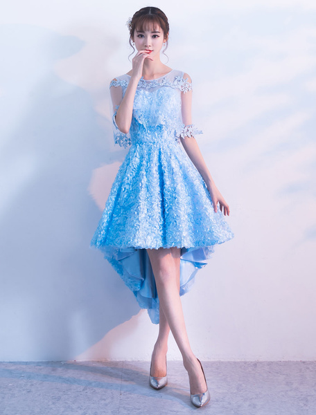 Milanoo Lace Cocktail Dresses Short High Low Homecoming Dress Half Sleeve Baby Blue Party Dresses