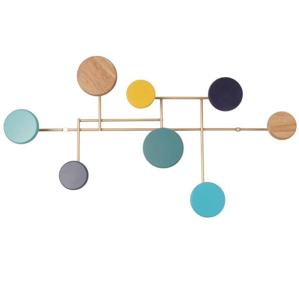 Garderobenleiste aus goldfarben Metall mit 8 bunten Haken